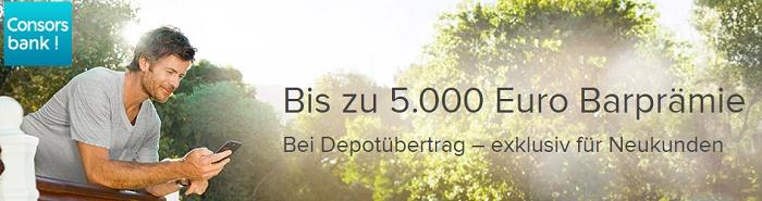 Bis zu 5000 Euro für einen Depotwechsel zur Consorsbank