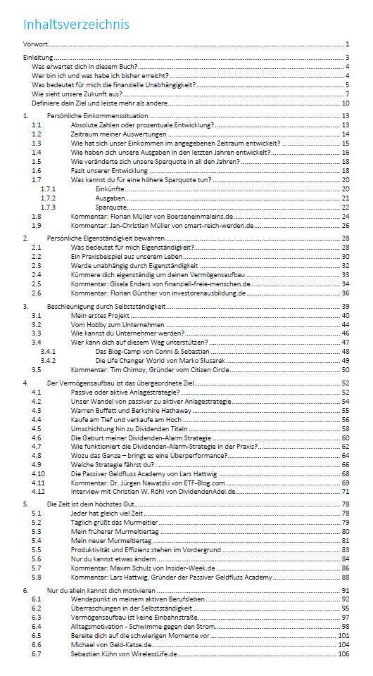 Inhaltsverzeichnis - Mein Weg zur finanziellen Freiheit