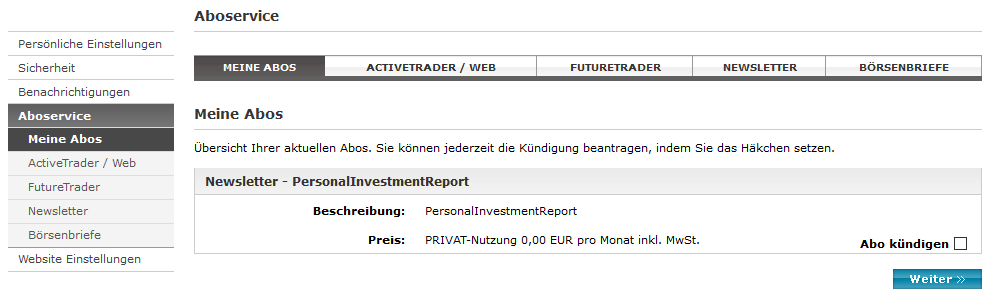 Wo findet man den Personal Investment Report?