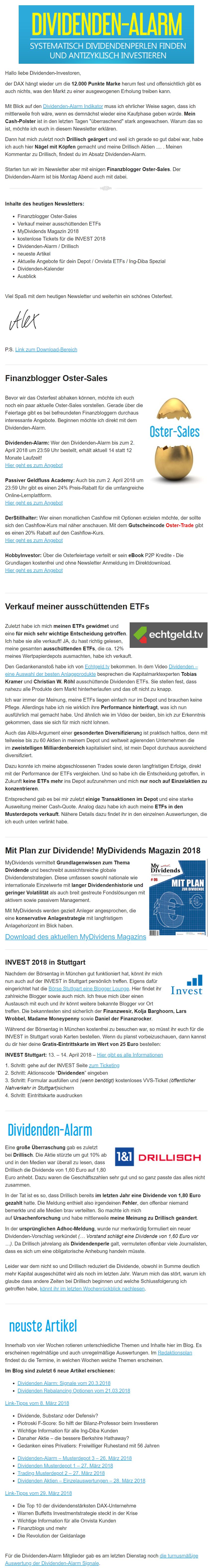 Dividenden-Alarm Newsletter Beispiel